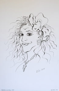 Autoportree, karikatuur, (29,7x42; tušš; 2014)