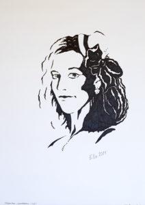 Autoportree, monokroomne, (29,7x42; tušš; 2014)