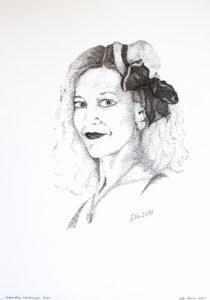 Autoportree, tekstuuriga, (29,7x42; tušš; 2014)