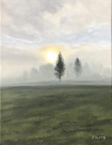 """""""Hommikune udu"""" (27x35, õli, 2018)"""
