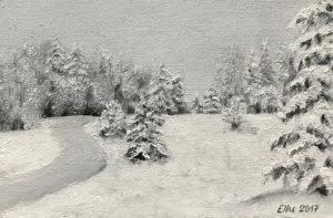 """""""Talv"""" (õli, 18x12, 2017)"""