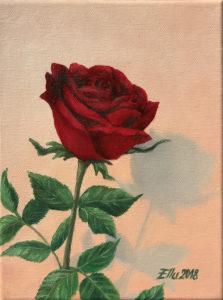"õlimaal ""Punane roos"" (17,5x24, 2018)"